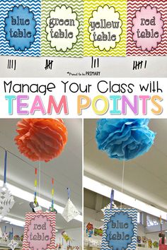 Classroom Behavior Strategy that Works: Table Groups and Signs Teachers can manage any chatty class of kids by setting up a team point classroom management system. Includes FREE table signs to get your classroom organized! Classroom Signs, First Grade Classroom, Classroom Setting, Classroom Activities, Classroom Decor, Future Classroom, Classroom Incentives, Science Activities, Educational Activities