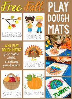Free Fall Theme Play Dough Mats! Apples, Pumpkin, Turkey, Leaves and Fall Kids!
