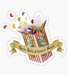 Bertie Bott's all flavoured beans Sticker Harry Potter Cartoon, Harry Potter Stickers, Harry Potter Artwork, Harry Potter Images, Harry Potter Love, Bubble Stickers, Cute Stickers, Image Bougie, Imprimibles Harry Potter