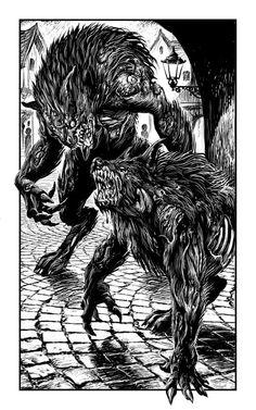 """""""Werewargs"""" Artist Martin McKenna. Werewolf Legend, Werewolf Hunter, Werewolf Tattoo, Werewolf Art, Werewolf Drawings, Apocalypse, Folklore, Tinta China, Dark And Twisted"""