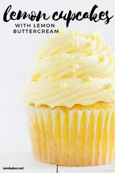 Easy Lemon Cupcakes with Lemon Buttercream I Am Baker Easy Lemon Cupcakes with Lemon Buttercream I Am Baker Kerstin Cupcakes Baking a delicious Lemon Cupcake doesn t nbsp hellip Cupcake recipe Köstliche Desserts, Lemon Desserts, Lemon Recipes, Baking Recipes, Delicious Desserts, Easy Cupcake Recipes, Cupcake Flavors, Frosting Recipes, Lemon Cupcake Recipe Easy