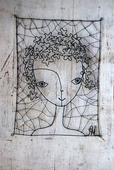 wire portrait...I love this...could do something similar