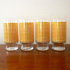 Retro Orange and White Checked Houndstooth by CollectibleKat, $17.50