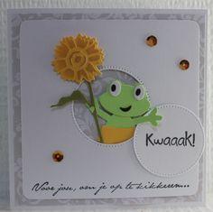 Gemaakt door Joke # Kwaak! Voor jou, om je op te kikkeren Aliexpress Dies Cards, Diy And Crafts, Paper Crafts, 3d Cards, Die Cut Cards, Marianne Design, Animal Cards, Homemade Cards, Cardmaking