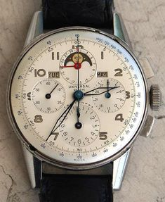 Vintage Watches Collection : omegaforums: Brilliant Vintage Universal Geneve Tri-Compax Triple-Date Moonphase Chronograph In Stainless Steel Circa Bulova Watches, Sport Watches, Cool Watches, Antique Watches, Vintage Watches, Rolex, Bracelet Cuir, Luxury Watches For Men, Men Watches