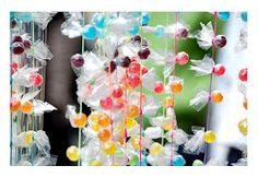Candy drop garland.    I've done this with assorted mini chocolate candies &…