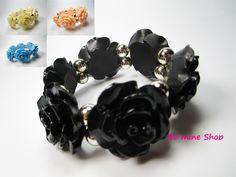 großes opulentes trendy Rosen-Armband in schwarz, apricot, creme vanille und blau VK 4,95€ http://ebay.eu/ZgBPAT