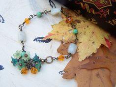 Wire Wrapped Flower Bracelet Jasper Swarovski by gristmilldesigns, $21.95