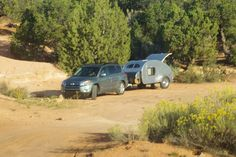 """Teardrop Camper at """"Overflow camping"""" area for Natural Bridges National Monument, Utah, October 1, 2011 (pinned by haw-creek.com)"""