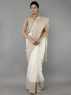 Off White Brown Cotton Tassel Saree