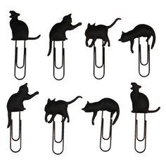 Katzen-Clips 8 Clips, je ca. 5 x 5,5 cm inkl. ca. 90 cm Leine.  Tierische Klammern für Katzenliebhaber, um Postkarten oder Fotos auf die Leine zu hängen oder um Papiere zusammenzuhalten.  Jedes Set enthält 8 Clips, je ca. 5 x 5,5 cm groß. Die Leine ist ca. 90 cm lang und hat an jedem Ende eine Schlaufe.