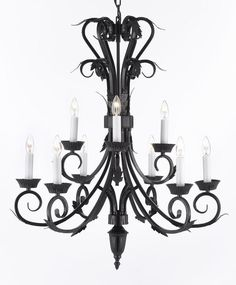Wrought Iron Chandelier Lighting H30 x W26.9