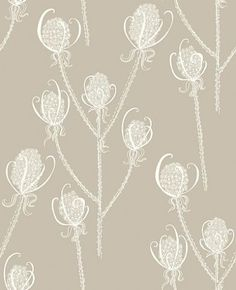 Teasels - Cream Tea (TSL5) - Earth Inke Wallpapers - A charming Teasel flower head motif design with a large scale pattern containing tiny intricate detail. Shown in the Cream Tea, cream on soft brown colourway. Please request sample for true colour.