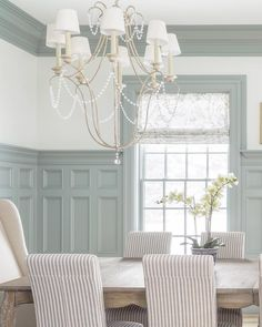 Love the high wainscoting with the picture frame molding and the crown molding—beautiful! Painted Wainscoting, Dining Room Wainscoting, Dining Room Walls, Dining Room Design, Wainscoting Ideas, Living Room, Malbaie, Kitchen Table Chairs, Wall Trim