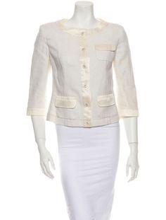 Piazza Sempione Jacket Creme basketweave jacket with round neckline, three-quarter length