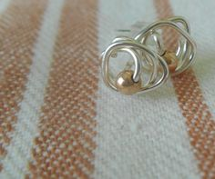 Sterling Silver Nest With Rose Gold Bead Stud by SFDesigns2015
