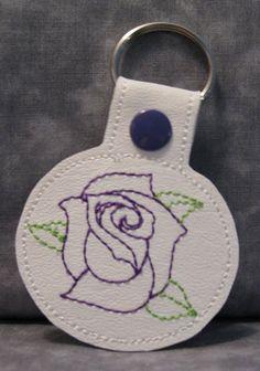 Purple Rose on White Vinyl and Purple Snap Tab Key Fob by ghostwalk on Etsy