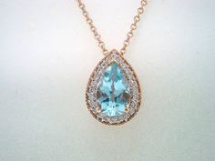 I HAD A NECKLACE LIKE THIS! It was a gift from my great grandma and disappeared during one of my moves. :( - 14K Rose Gold Pear Shape Aquamarine & Diamond Pendant Necklace 0.84ct Hand Made