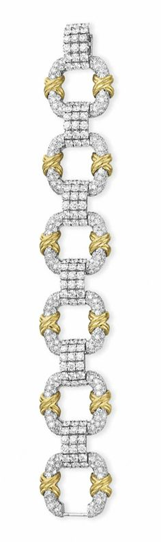"A DIAMOND AND GOLD ""COOPER"" BRACELET, BY JEAN SCHLUMBERGER, TIFFANY & CO. Designed as a series of pavé-set diamond square-shaped open panels, each decorated with a sculpted 18k gold ""X"" motif, joined by circular-cut diamond rectangular-shaped links, mounted in 18k gold and platinum, 7¼ ins., in a Tiffany & Co. black suede case Signed Schlumberger Studios for Jean Schlumberger, Tiffany & Co., no. 23710048"