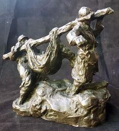 """OLD SCULPTURE A CIRE PERDUE GASTON BROQUET ( 1880-1947) """" LES POILUS"""" #GASTONBROQUET"""
