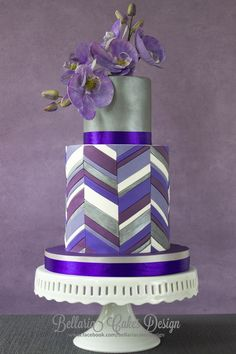 Purple Sugar  Orchids  chevron double barrel wedding cake ~ all edible