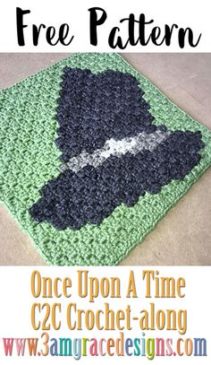 Once Upon A Time free crochet pattern & tutorial for our show themed graphgan blanket. This week is Zelena's Hat! Crochet C2c Pattern, C2c Crochet Blanket, Crochet Chart, Crochet Squares, Crochet Blanket Patterns, Filet Crochet, Afghan Patterns, Crochet Afghans, Crochet Blankets