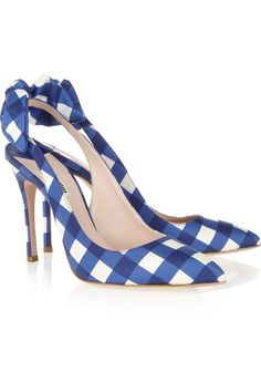 blue gingham slingbacks #shoes #gingham