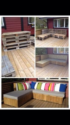 Inspiration for outdoors Diy Pallet Furniture, Garden Furniture, Outdoor Furniture Sets, Pallet Bench, Outdoor Spaces, Outdoor Living, Outdoor Decor, Diy Bed, Diy Garden Decor