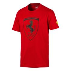 PRODUCT STORYShow love for your team in this Ferrari Tee. This tee features a bold Ferrari shield logo, letting you wear your passion with pride.DETAILSRegular fitShort sleeve constructionCrewneck collarFerrari Shield graphic rubber print at chest. Camisa Nike, Shield Logo, Tee Shirt Homme, Plus Size Designers, Plus Size Shopping, Puma Mens, Herren T Shirt, Tshirts Online, Moda Masculina