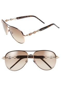 Gucci 'Marina Chain' 58mm Aviator Sunglasses available at #Nordstrom