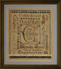 Tempting Tangles Classic Coffee Break - Cross Stitch Pattern. Model sittched on 30 Ct. Straw linen by Weeks Dye Works with Crescent Colors Belle Soie Silk (Choc