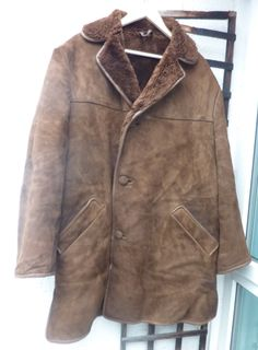 """Mens Vintage Sheepskin suede Coat Brown Made in England Mod Urban 1970s 48"""" XL by Shadesofstylelondon on Etsy"""