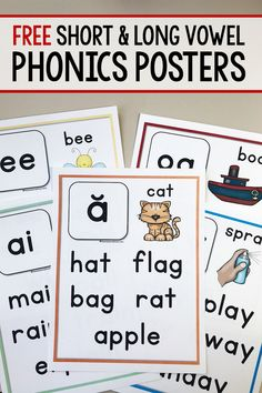 Print these free phonics posters to use as mini anchor charts for young writers in kindergarten, first, and second grade! Great as a reference during reading and writing workshop! teach child to read Phonics Chart, Phonics Flashcards, Phonics Books, Phonics Lessons, Phonics Reading, Teaching Phonics, Kindergarten Lessons, Kindergarten Reading, Kindergarten Phonics