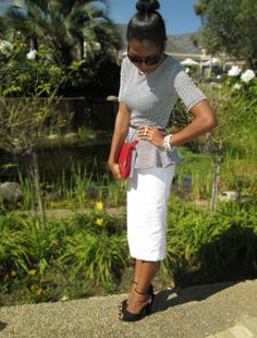 Nhlanhla wears her LEGiT shoes with a white pencil skirt and peplum top. #Bloggerstyle #Fashion