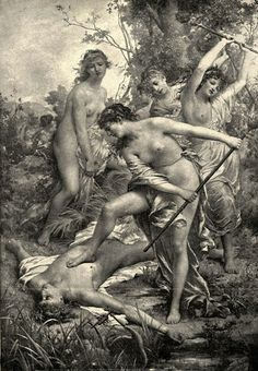 The Thracian Women Spurning The Body Of Orpheus - François Lafon (1846 – 1920, French)