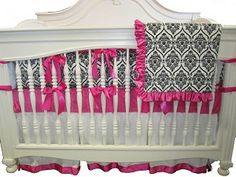 Hot Pink Crown Damask Crib Bedding  minky fabric, so soft and cuddly!