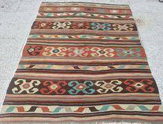 "VINTAGE Handwoven Caucasian Kilim Rug Carpet , Wool Antique Kilim Rug,Decorative Floor Kilim Rugs,Natural Wool,72.8""x57.4"" , FAST SHIPPING"