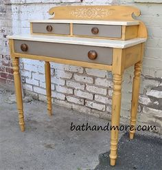We painted this cute desk with Chalk Paint® decorative paint by Annie Sloan. Arles legs, Old White with Annie Sloan Craqeleur on the top and Coco drawers. #chalkpaint #anniesloan #bathandmore