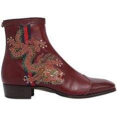 Gucci Men Plata Embroidered Leather Ankle Boots (131.710 RUB) ❤ liked on Polyvore featuring men's fashion, men's shoes, men's boots, bordeaux, mens shoes, mens boots, mens short boots, mens leather boots and gucci mens shoes