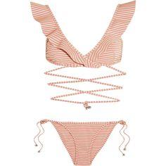 Zimmermann Caravan ruffled striped bikini (13,485 DOP) ❤ liked on Polyvore featuring swimwear, bikinis, zimmermann, rose bikini, low rise bikini, zimmermann bikini, stripe bikini and triangle swimwear