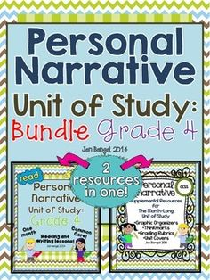 Units are available for grades 2-6.  This bundle includes everything you need to teach and assess for a month long unit of study on personal narrative texts in the reading and writing workshops! There are 40 CCSS detailed lessons, chart examples, printable graphic organizers and thinkmarks for every reading lessons, writing rubrics, and much more! ($)