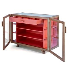 Functional and fun, the Vitrina Small Sideboard allows you to display your favourite items backed behind the painted orange interior. Cabinet Furniture, Furniture Decor, Furniture Design, Shelving, Storage Shelves, Small Sideboard, Buffets, Contemporary Furniture, Furnitures