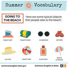English Idioms, English Vocabulary, English Study, Learn English, Everyday English, The Beach People, Sun Umbrella, American English, Beach Ball