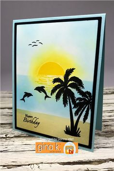 Gina K Designs –Inspiration Blog Hop – Day 1 (Melanie & Theresa stamps) | Creative Lady Style Tropical, Tropical Design, Nautical Cards, Beach Cards, Sea Theme, Ocean Themes, Beach Scenes, Card Sketches, Hero Arts