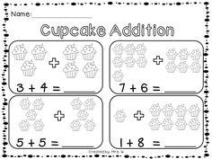 Valentine's Day Sweet Treats Math Centers -  Cupcake Addition Worksheet