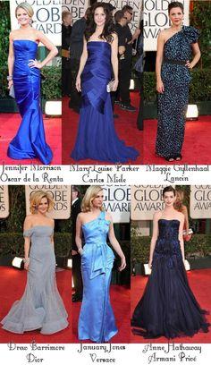 As coisas começam a melhorar. As meninas abaixo se esforçaram e entraram no quesito a cor-do-tapete, que não é vermelho, mas sim azul! Pense em todas as variações de azul! Azul elétrico, azul marinho, azul oncinha (tá, inventei), azul cinza, azul da cor do céu e o azul brilhoso de Anne Hathaway, que por mais …