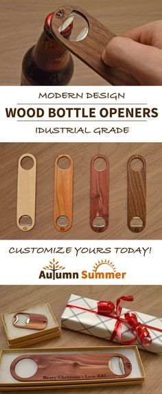 Custom Wood Bottle Openers. A great stocking stuffer for him, for bartenders and home brewers. Just $20!  https://www.handmadeformen.com/products/bottle-opener