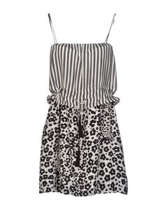 Chloe Black/White Silk Summer Dress w/Drawstring Closure