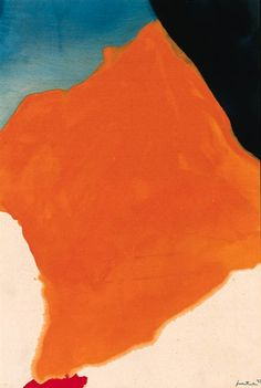 Helen Frankenthaler, Orange Lozenge. Great division of space; exploration of a color framed by neutrals and complentary pop.