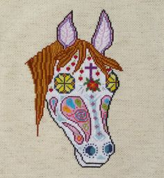 Horse Sugar Skull Day of the Dead Cross by HanksPatternPlace